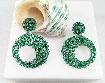 Silver Multi-Stone Earrings.Green swarovski earrings. Dangle and drop earrings 925.Green Swarovski Jewellery. Green Swarovki Jewelry
