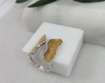 Gold K14 and Silver 925 Ring.Gold and Silver Ring with Wings.Distinctive gift for Her.Valentine's gift.Anniversary & Birthday Gift.