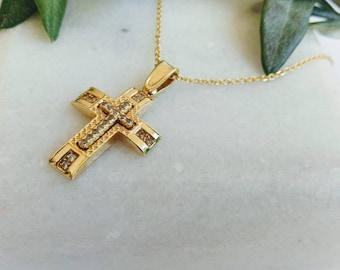 14k Gold Cross.Baptism yellow gold cross.Cross for girl.Swarovski stone Gold Cross.Cristian K14 cross.Christian cross pendant.Greek cross