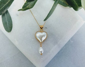 18K Valentine Pearl Heart,18K yellow gold,Valentine's gift,Pearl pendant,Gold and Pearl,Best valentine gift for her,Love pendant,Pearl Heart