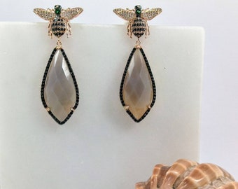 Rose Gold 925 Earrings.Multi-Stone Earrings.White and Black swarovski earrings with smokey agate center.Bee dangle and drop earrings.