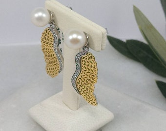 Earrings in Gold K14 and Silver 925 with pearl.K14 and 925 Earrings with wing.Distinctive gift for Her.Valentine's gift. Anniversary Present