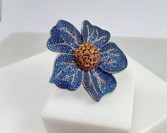 Silver Multi-Stone Ring.Blue swarovski Ring. Flower Ring 925.Blue Swarovski Jewellery. Blue Swarovki Jewelry. Ring for Her