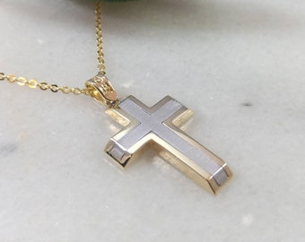 Two-colors K14 Gold Cross.Yellow and White gold. Double Sided K14 Gold Cross.Cross for boy.Baptism gold cross.Man's Cross.Christian pendant.