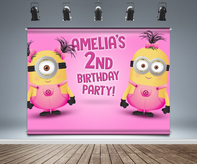 Girl Minions Backdrop Banner Birthday Background Despicable Etsy