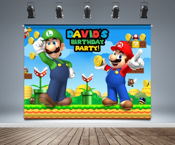 Super Mario Backdrop Banner Luigi Birthday Decoration Kids Etsy