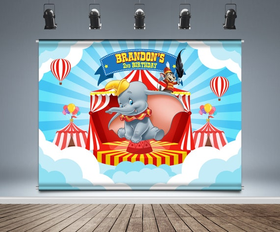 Children Cartoon Backdrop Banner Circus Carnival Tent Dumbo Party Backdrop Curtains Birthday Party Baby Shower Newborn Photo Backdrop Customize Babys Name /& Age Background Video Shooting Background