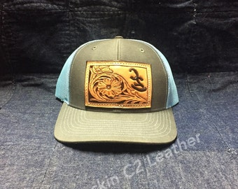 485f4bca004 Leather hand tooled patch on Hat