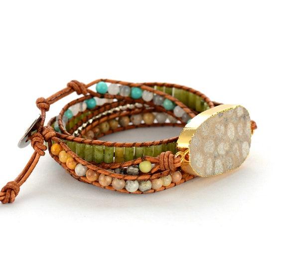 Boho Bracelet de perles tube Forme Cuir Naturel Wrap Cuff Semi Precious Stone