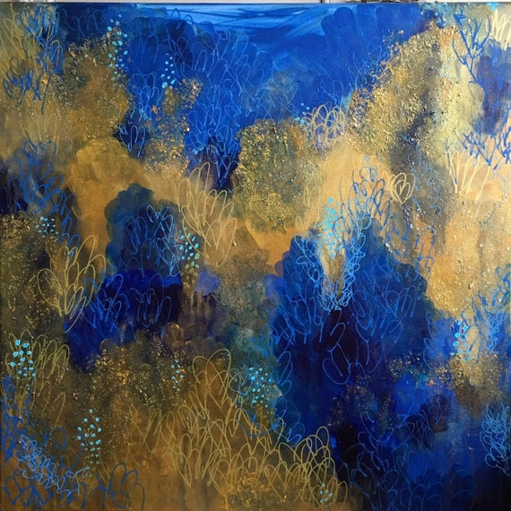 Original Fine Art Abstract Ocean Art Nature Inspired Artwork Under The Sea Handpainted Gold Blue Canvas Nautical Acrylic Painting