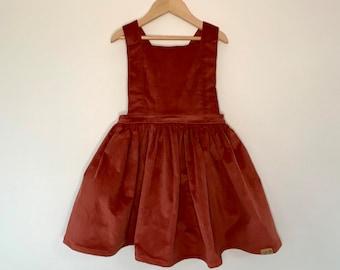 Pinafore Dress - Kids size 6 corduroy dress in Rust