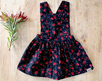 Pinafore Dress - Corduroy Poppy Print in black and red
