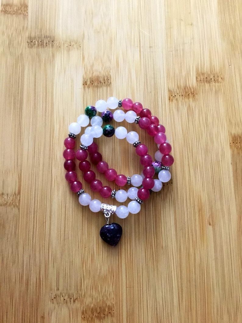 Ruby zoisite clear quartz 3x wrap bracelet cherry quartz