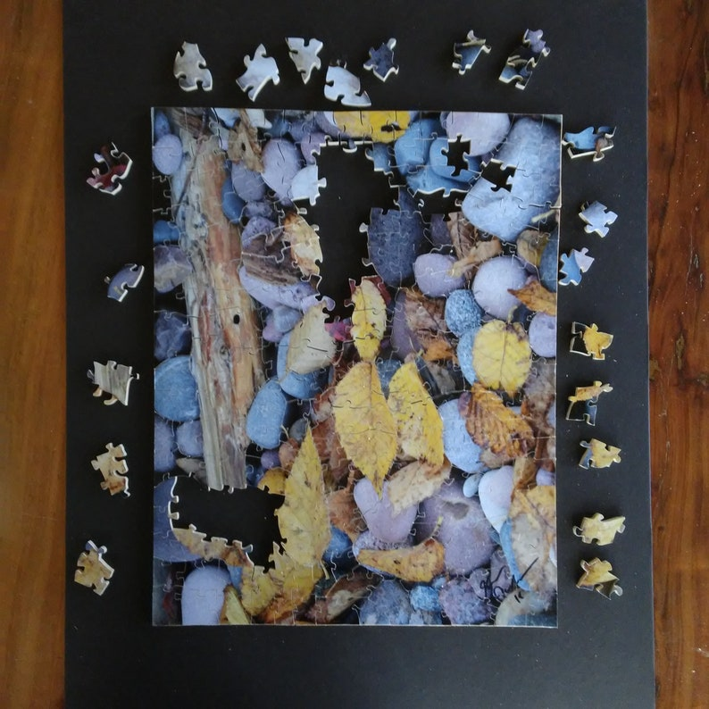Hand Cut Wood Puzzle Leaves on the Beach by Kevin Quillen