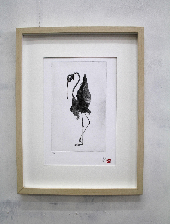 Bird skeleton  Original etching limited edition  Chick skull  fine art