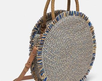 Ladies Maroccan Style Round Bag Womens Detailed Boho Large Fringed Woven  Handag