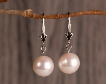 Pearl Earrings, 10mm Pearl Pendant Earrings, June Birthstone Jewelry, Gift For Her, Wedding, Bridesmaids Gift, Birthday Gift