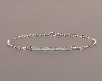 Aquamarine Bar Bracelet, Silver Or Gold Chain, March Birthstone Jewelry, Dainty Gemstone Bracelet, Bridesmaids Gift, Birthday Gift