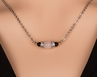 Rose Quartz and Black Onyx Necklace, Gemstone Necklace, Gift for Her, Birthday Gift