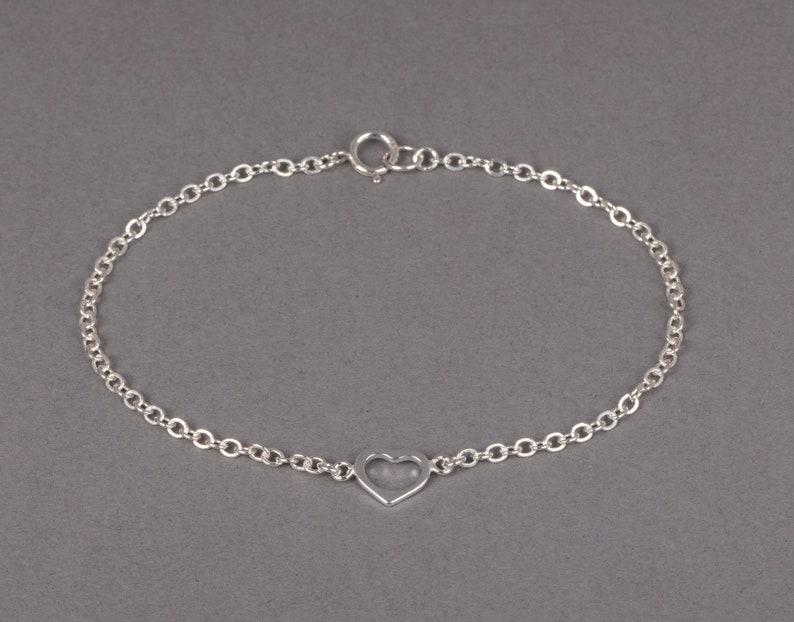 Sterling Silver Open Heart Bracelet Dainty Bracelet Gift For image 0