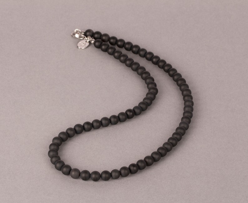 Matte Black Onyx necklace 4 to 8mm Beaded Necklace Gemstone 6 mm