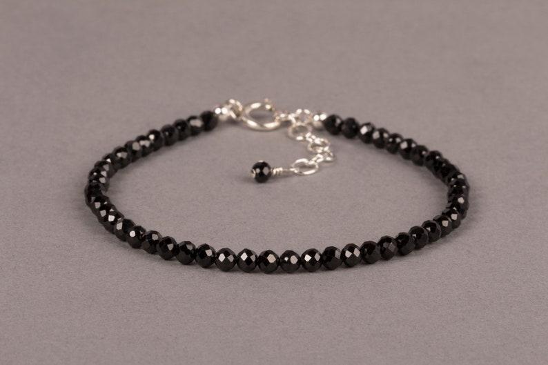 Black Spinel Bracelet Minimalist Gemstone Bracelet Beaded Sterling silver