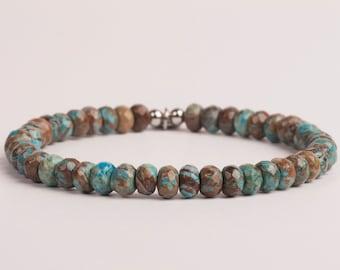 Blue And Brown Howlite Bracelet, 6mm Gemstone Bracelet, Gift For Her, Gift For Him, Birthday Gift
