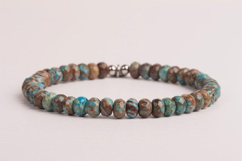 Blue And Brown Turquoise Bracelet 6 mm Gemstone Bracelet image 0