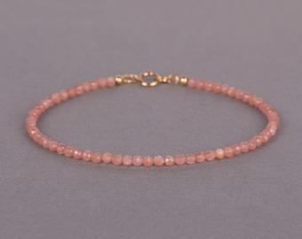 Slim Rhodochrosite Bracelet, Pink Gemstone Jewelry, Minimalist Beaded Bracelet, Gift For Her, birthday gift