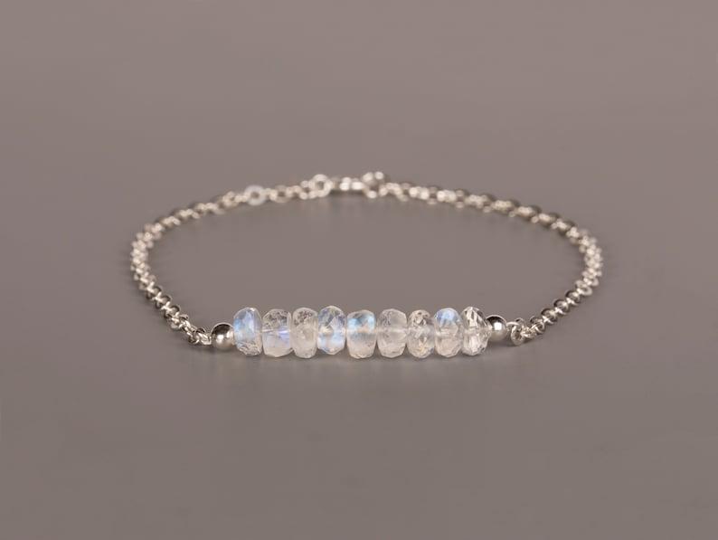 Rainbow Moonstone Bar Bracelet June Birthstone Bracelet Sterling silver