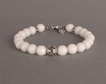 White Jade Bracelet, 8mm Beaded Gemstone Bracelet, Summer Jewelry, Gift For Her, Birthday Gift