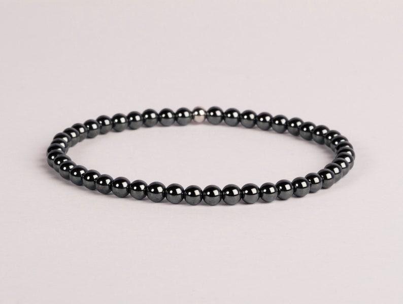 Hematite Bracelet 4 or 6mm Beaded Gemstone Bracelet Layering image 0