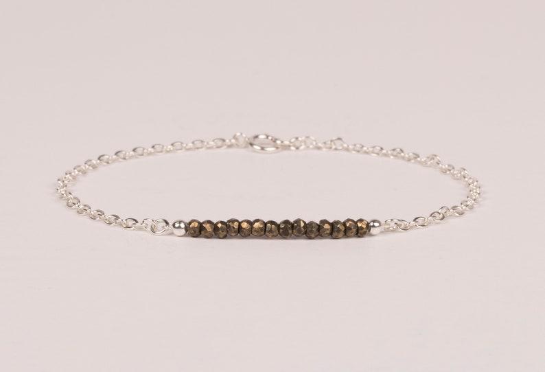 Dainty Pyrite Bracelet Gemstone Bar Bracelet Beaded Sterling silver