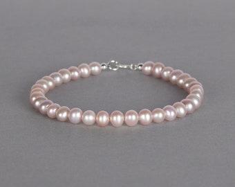 Pink Pearl Bracelet, 6mm Wide Natural Pearl Bracelet, Gift For Her, Wedding Bracelet, Bridesmaids Gift, Birthday Gift