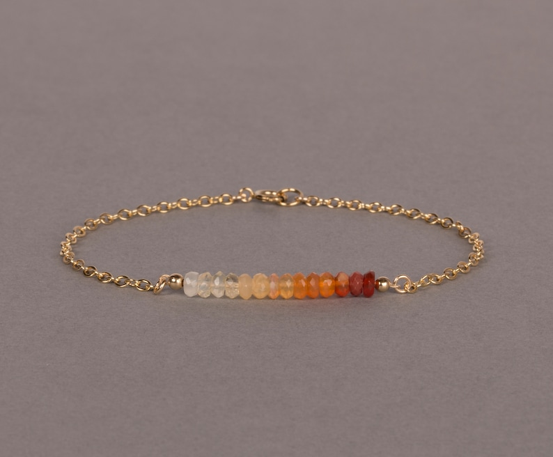 Ombre Mexican Fire Opal Bracelet Gemstone Jewelry October 14K gold filled