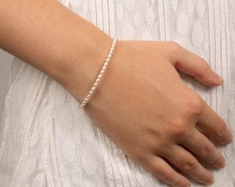 Dainty Pearl Bracelet, 3mm Wide Natural Pearl Bracelet, June Birthstone Jewelry, Wedding Bracelet, Gift For Her, Birthday Gift