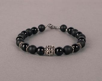 Matte And Shiny Black Onyx Bracelet, 8 Gemstone Bracelet, Beaded Bracelet, Gift For Him, Birthday Gift
