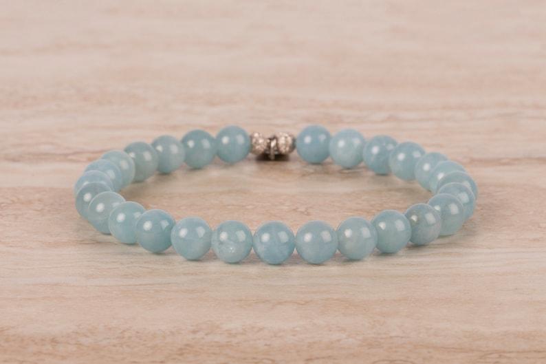 Aquamarine Bracelet March Birthstone Bracelet 7 mm Beaded image 0
