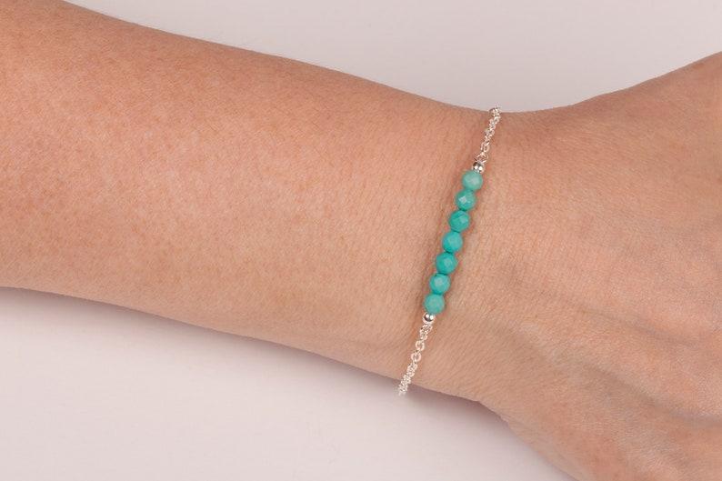 Turquoise Bar Bracelet December Birthstone Minimalist image 0