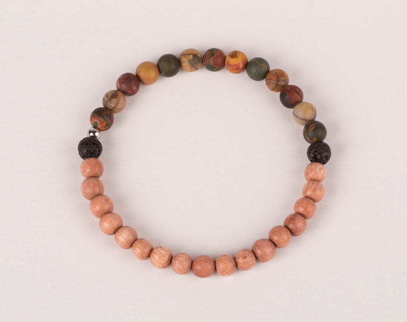 Picasso Jasper With Rosewood And Lava Beads Bracelet image 0