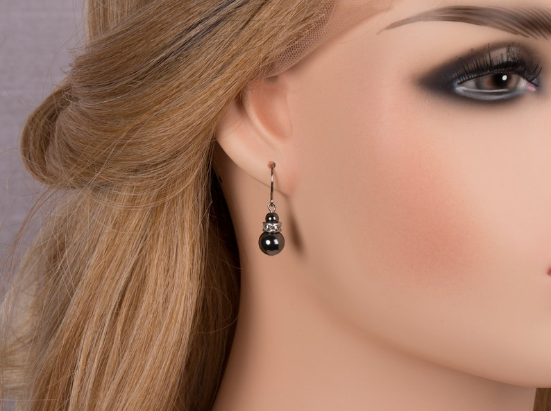 Hematite And Rhinestone Earrings Drop Earrings Gift For Her image 0