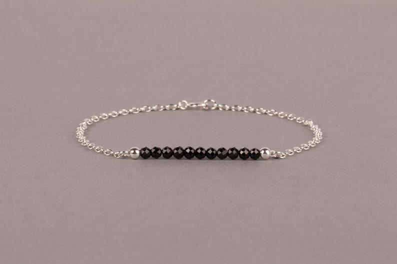 Dainty Black Tourmaline Bracelet October Birthstone Bar Sterling silver
