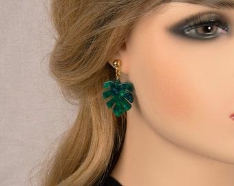 Green Monstera leaf Earrings, Big Drop Earrings, Acetate Tortoise Shell Earrings, Gift For Her, Birthday Gift