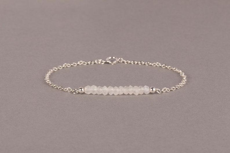 White Rainbow Moonstone Bar Bracelet June Birthstone Sterling silver