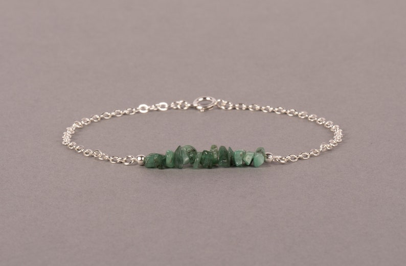 Raw Emerald Bar Bracelet May Birthstone Bracelet Gemstone Sterling silver