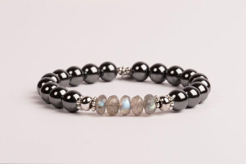 Labradorite And Hematite Bracelet 8mm Gemstone Jewelry image 0