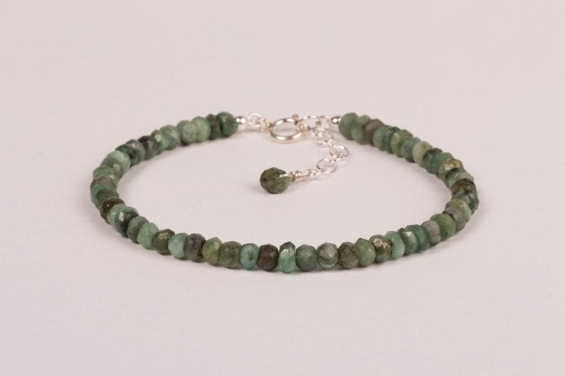 Emerald Bracelet May Birthstone Bracelet Gemstone Jewelry image 0
