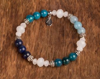 Blue Agate And Lapis Bracelet, 8mm Beaded Bracelet, Gemstone And Glass Bead Bracelet, Gift For Her, Birthday Gift, Mother's Gift