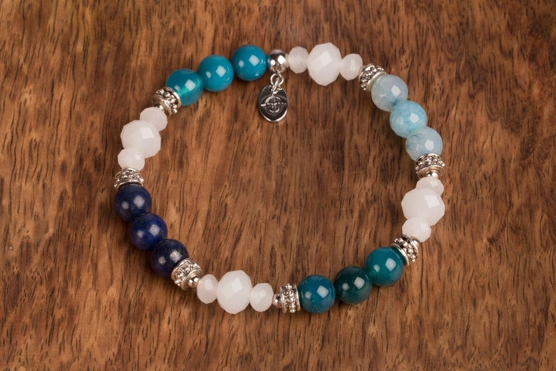 Blue And white Bracelet 8 mm Beaded Bracelet Gemstone And image 0