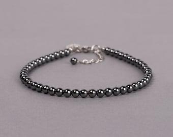 Hematite Bracelet, 4mm Beaded Gemstone Bracelet, Layering Bracelets, Gift For Her, Gift For Him, Birthday Gift